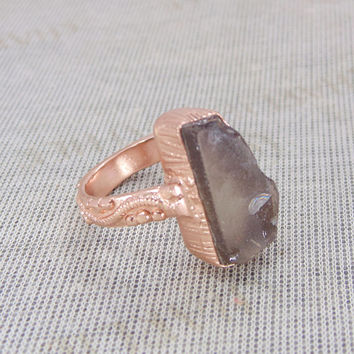 Smoky Quartz  Ring - Handmade Ring - Gold Vermeil Ring - Statement Ring - Artisan Ring - Raw Stone Ring - Gemstone Ring - Gift For Her