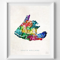 South Holland, Netherlands, Map, Print, Watercolor, Europe, Home Town, Poster, Gift, Country, Wall Decor, Painting, Bedroom, World [NO 1253]