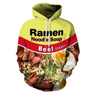 """Beef Ramen"" Skateboarding Hoodie Lovers Baseball coat Streetball 3D hoodie men & women Hip-hop hooded pullover hooded sweater"
