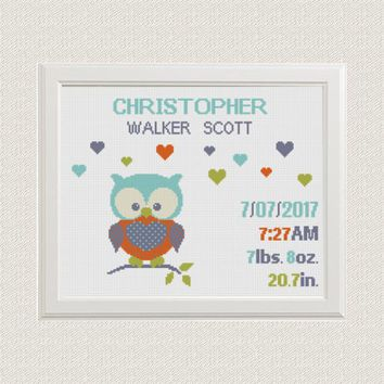 Birth announcement cross stitch pattern animals Owl with hearts birthday sampler baby Nursery room decor Colorful Orange green gray blue