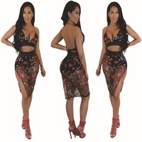 Floral Backless Spaghetti Straps Vest with Split Skirt Two Pieces Dress Set