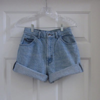Vintage 80s 90s High Waist Shorts, Hipster Cut Off Denim, High Waisted Denim Shorts,Womens 8 Mom Jean Shorts, Light Wash GS90