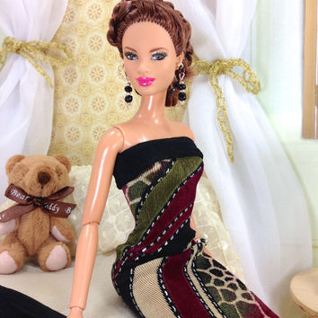 Dress For Barbie Doll - Mixed Patterned Dress with Shawl, Earrings, Bracelet, and Shoes