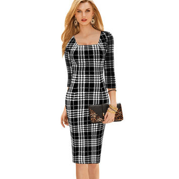 Full Sleeves And Square Neck Office Dress