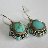 Sterling Silver Turquoise Earrings 1980s  Jewelry