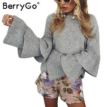 BerryGo Loose flare sleeve knitting winter sweater Women elegant autumn pullover mujer invierno