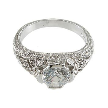 Plutus Brands 925 Sterling Silver Rhodium Finish CZ Brilliant Solitaire Engagement Ring 2 Carat Weight - Size 9