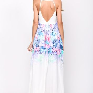HelloMolly | Thinking Out Loud Maxi White - Pastel floral print sleeveless white maxi dress