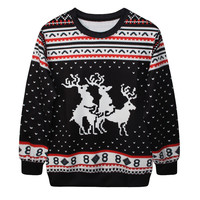 Casual Print Tops Ugly Christmas Sweater Christmas Hoodies [9440725060]