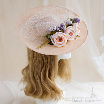 New Arrival Vintage Lace Hats Chapeau Mariage Wedding Bride Hat Party Veil Rose European Birdcage Modern Wedding Accessories
