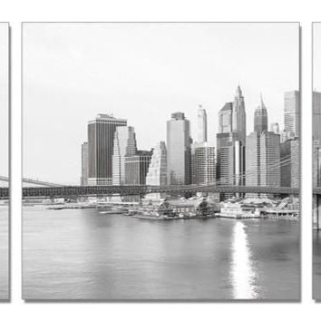 "Big Apple 28"" x 28"" each piece acrylic black and white triptych painting"