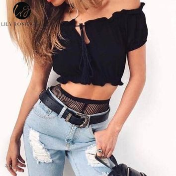 SHIRT Girl Off Shoulder Lace Up Red Ruffles Short Tops Summer Sexy Party Backless Crop Shirts Blouses Night Black Top