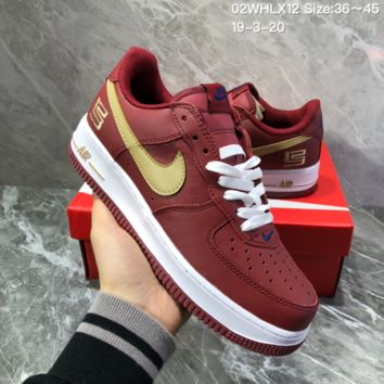 DCCK2 N1163 VLONE x Nike Air Force 1 Fashion Casual Skate Shoes Red Gold