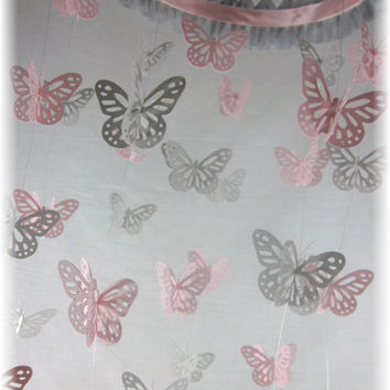 Small Pink and Grey Butterfly Mobile - Nursery Mobile, Nursery Bedding, Nursery Decor, Baby Shower Gift, Wedding Mobile, Sabby Sheek