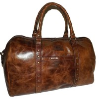 "NEW PATRICIA NASH VINTAGE ITALIAN LEATHER 20"" MILANO DUFFEL BAG LUGGAGE COGNAC"