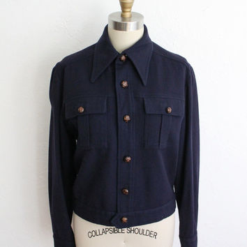 Vintage 70s Navy Wool Preppy Jacket // Women's Military Style Fall Coat