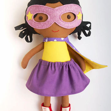 Black superhero girl doll with supergirl costume with superhero cape and mask, african american doll for superhero birthday, toddlers gift