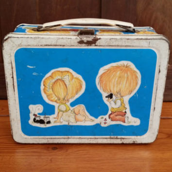 Vintage Metal Thermos Lynn Santarlaski Illustration Lunch Box 1974 Great for Decor Storage Art Supplies