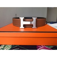 NEW AUTHENTIC HERMES 32 REVERSIBLE BELT KIT 120cm NOIR/GOLD Silver H