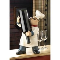 Plump Happy Chef Figurine Wine Bottle Holder Kitchen Accent