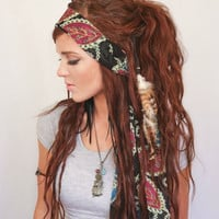 Bohemian head wrap, head scarf, turban headband, headband, brown, head wrap, convertible headband, bun wrap
