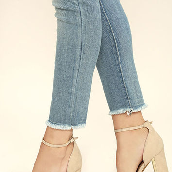 Laura Nude Suede Ankle Strap Heels
