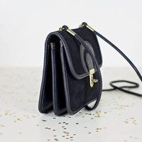 vintage small black leather crossbody purse / genuine leather cross body bag / black leather cross over leather satchel clutch