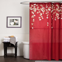 Lush Decor Flower Drop Polyester Shower Curtain