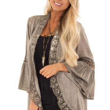 Mocha Open Front Kimono with Lace Trim and Bell Sleeves