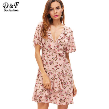 Dotfashion Floral Dress Women Pink Surplice Wrap Ruffle Casual Mini Summer Dresses 2017 Fashion Sexy V Neck Cute A Line Dress