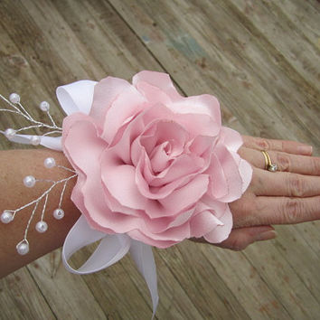 Sweet satin flower wedding corsage boutonnieres-  prom corsage -prom flowers - pink satin rose