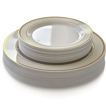 OCCASIONS 50 piece (25 guest) Disposable Dinnerware Set - Wedding Plastic Plates for 25 guests - (25 x 10.5'' plates + 25 x 7.5'' plates, in Ivory with Gold Rim)