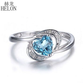 HELON Heart Shape 6x6mm Swiss Topaz Solid 10K White Gold Natural Diamonds Ring Engagement Wedding Fine Ring