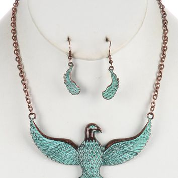 Brown Aged Finish Metal Thunderbird Bib Necklace And Earring Set