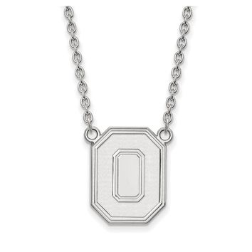 NCAA 10k White Gold Ohio State Large Pendant Necklace
