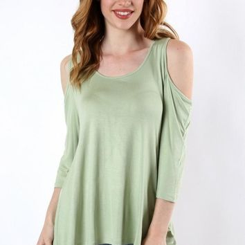 Green Tunic Cold Shoulder Shirt Pastel Green: S/M/L