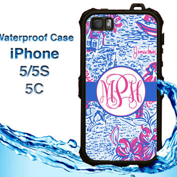 Waterproof iPhone 5 Case Lilly Pulitzer Inspired iPhone 5S Case Heavy Duty iPhone Case iPhone 5C Case Personalized iPhone 5 Case