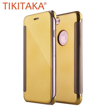 Luxury Clear Electroplating Mirror Flip Case For iPhone 7 6 6s Plus 5 5s SE Cover PC View Windows Ultra Thin Phone Cases Shell