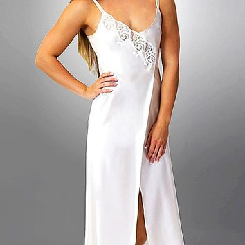 9d256eb683 Desiree Silk Charmeuse Bridal Nightgown w Embroidered Appliqué (Robe  available) (Medium-