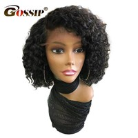 """150 Density Brazilian Remy Hair Water Wave Lace Front Wigs 6"""" Deep Parted Lace Gossip Short Human Hair Bob Wigs For Black Women"""