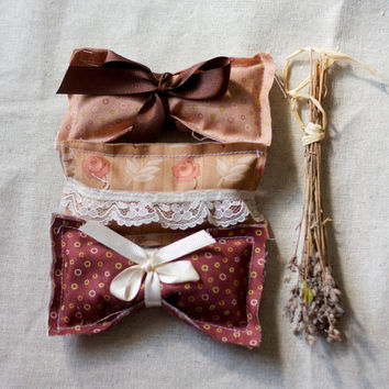 lavender pillows. chocolate brown relaxing collection set of 6 six with embellishments of lace and ribbon for your bedroom dresser table