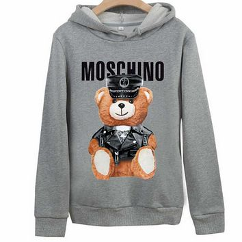 Moschino autumn and winter classic bear print loose hooded couple hooded sweater Grey