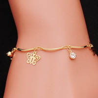 Cute Butterfly & Crysyal Charm Bracelet Gold Tone Fashion Jewelry