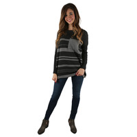 Fancier in Stripes Thin Sweater Charcoal