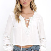 By My Oceanside Ivory Lace-Up Top