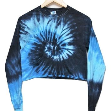 Ocean Tie-Dye Cropped Long Sleeve Tee