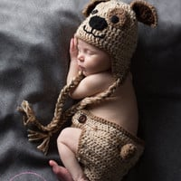 Crocheted Yarn Tan Puppy Baby Hat and Diaper Cover Newborn Photo Prop Set