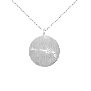 Silver Zodiac Pendant with Diamonds - Aries