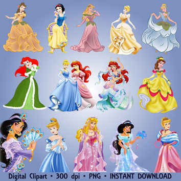 Disney Princesses Clipart Party 40 PNG Set Ariel Jasmine Snow White Cinderella Clip Art Invitations Printable Digital Clipart Graphic 300dpi