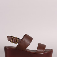 Bamboo Double Band Slingback Flatform Wedge